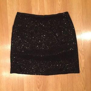 Ann Taylor Women's Black Sequins Mini Skirt Sz 8